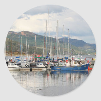 Boats at Kyleakin, Isle of Skye, Scotland Classic Round Sticker