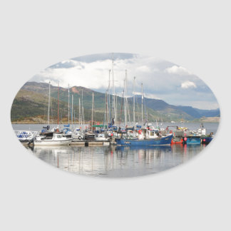 Boats at Kyleakin, Isle of Skye, Scotland Oval Sticker