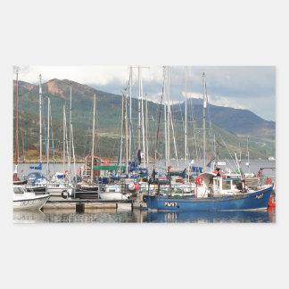 Boats at Kyleakin, Isle of Skye, Scotland Rectangular Sticker