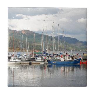 Boats at Kyleakin, Isle of Skye, Scotland Tile