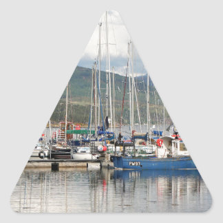 Boats at Kyleakin, Isle of Skye, Scotland Triangle Sticker