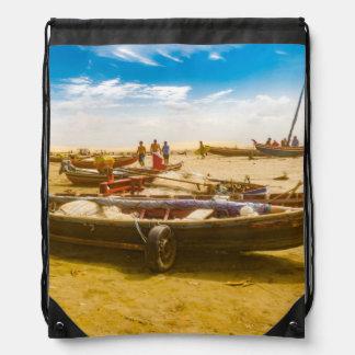 Boats at Sand at Beach of Jericoacoara Brazil Drawstring Bag