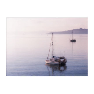 Boats at St. Mawes as sea mist clears. Acrylic Print
