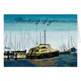 Boats at the Harbor Cards