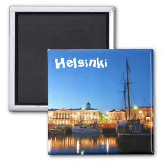 Boats at the Helsinki Market Square on evening Square Magnet