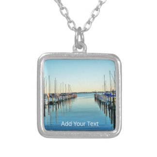 Boats At The Marina by Shirley Taylor Silver Plated Necklace