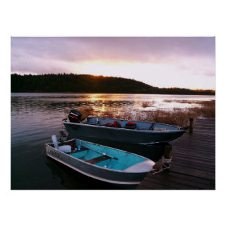 Boats by the Dock at Sundown Poster