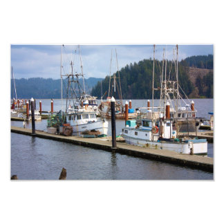 Boats docked at Florence Oregon Marina Photographic Print