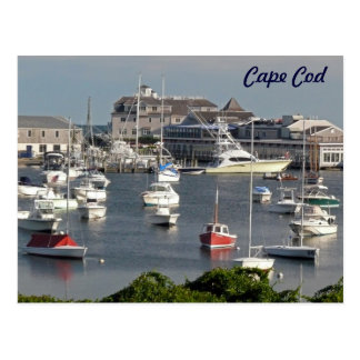 Boats in a Cape Cod Harbor during Summer Postcard