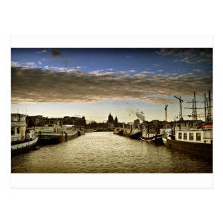 Boats in Amsterdam Postcard