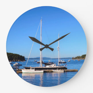 Boats in Bar Harbor Maine by Julie Everhart Large Clock