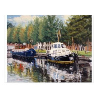 Boats in Brugge Belgium Postcard