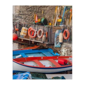 Boats in Cinque Terre Italy Acrylic Wall Art