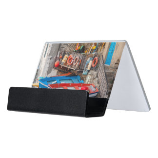 Boats in Cinque Terre Italy Desk Business Card Holder