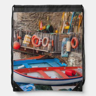 Boats in Cinque Terre Italy Drawstring Bag