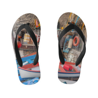 Boats in Cinque Terre Italy Kid's Thongs