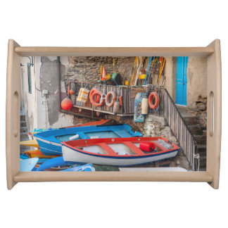 Boats in Cinque Terre Italy Serving Tray