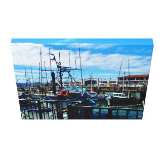 Boats in dock canvas print