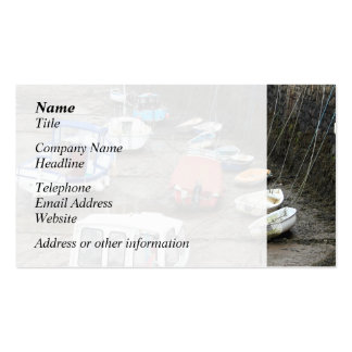 Boats in Harbor at Low Tide. Business Card Templates