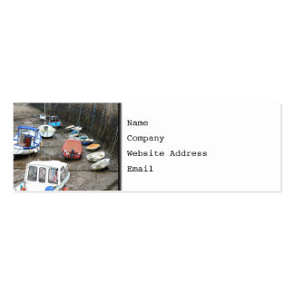 Boats in Harbor at Low Tide. Business Card Template