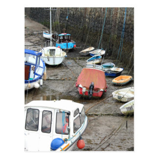 Boats in Harbor at Low Tide. Postcard