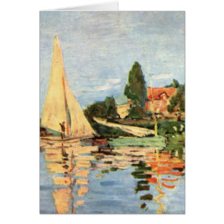 Boats in Harbor painting Card