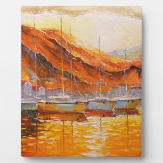 Boats in Harbor Plaque