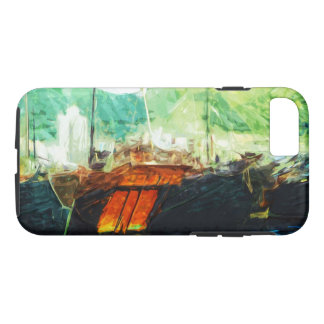 Boats in Hong Kong Harbor Abstract Impressionism iPhone 7 Case