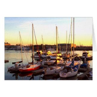 Boats in Marina in Oakland, CA Card
