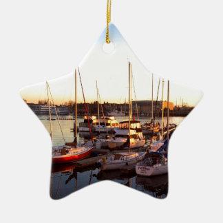 Boats in Marina in Oakland, CA Ceramic Ornament