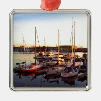 Boats in Marina in Oakland, CA Metal Ornament