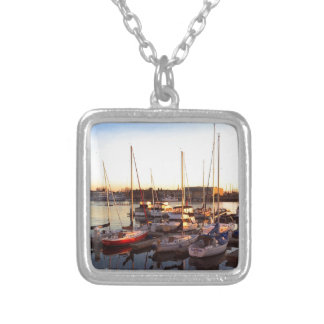 Boats in Marina in Oakland, CA Silver Plated Necklace