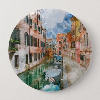Boats in the Canals of Venice Italy 10 Cm Round Badge