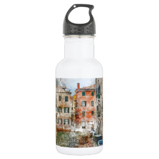 Boats in the Canals of Venice Italy 532 Ml Water Bottle