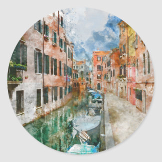 Boats in the Canals of Venice Italy Classic Round Sticker