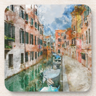 Boats in the Canals of Venice Italy Coaster