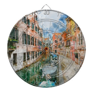 Boats in the Canals of Venice Italy Dartboard