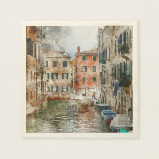 Boats in the Canals of Venice Italy Disposable Napkin