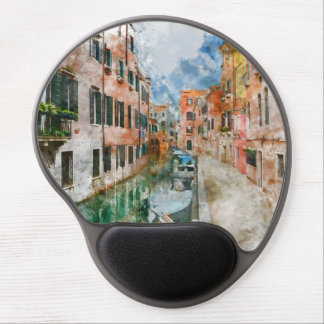 Boats in the Canals of Venice Italy Gel Mouse Pad