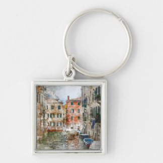 Boats in the Canals of Venice Italy Key Ring