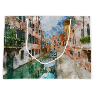 Boats in the Canals of Venice Italy Large Gift Bag