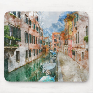 Boats in the Canals of Venice Italy Mouse Pad