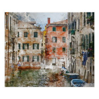 Boats in the Canals of Venice Italy Poster