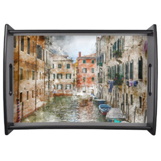 Boats in the Canals of Venice Italy Serving Tray