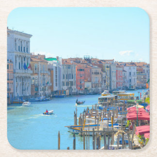 Boats in the Canals of Venice Italy Square Paper Coaster