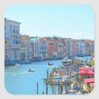 Boats in the Canals of Venice Italy Square Sticker