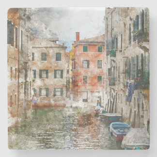 Boats in the Canals of Venice Italy Stone Coaster