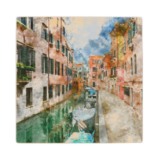 Boats in the Canals of Venice Italy Wood Coaster