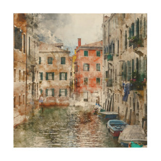 Boats in the Canals of Venice Italy Wood Print