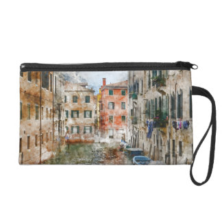Boats in the Canals of Venice Italy Wristlet